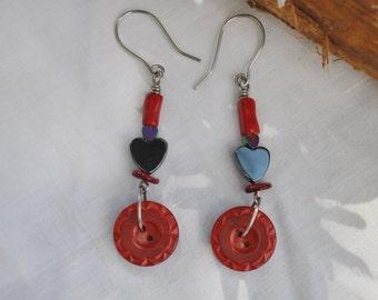 vintage button earrings; red heart earrings; red button earrings; hematite heart earrings; red coral bead earrings; upcycled earrings