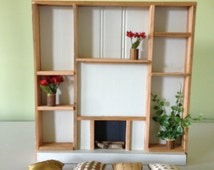 Barbie Size Fireplace w/ Built In Shelves, Modern, Natural, Pillows