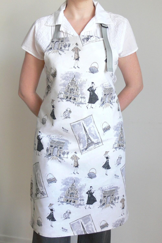 white womens apron paris adjustable apron kitchen apron. Black Bedroom Furniture Sets. Home Design Ideas