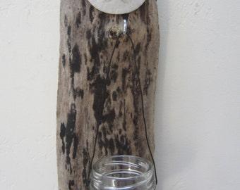"Driftwood Glass Candle holder ""Nautical"""
