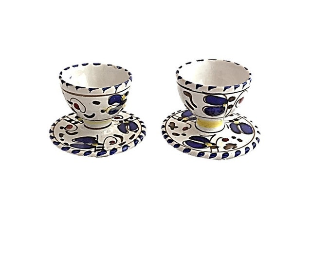 Hand Painted Egg Cups with Saucer - Set of 2 - Vintage - Breakfast - Kitchen - Home Decor - Made in Italy