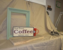 Fresh brewed coffee handmade on cedar shingle perfect for in your kitchen or by your coffee station