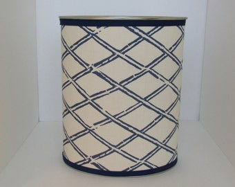Quadrille China Seas Lyford Bamboo Navy designer fabric covered wastebasket