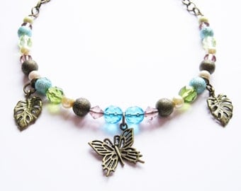 Steampunk Butterfly Beaded Necklace Antique Bronze Vintage Style Pastel Shades OOAK FREE UK Shipping