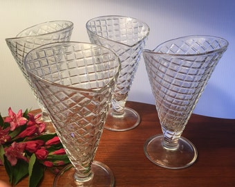 SALE! Four Bormioli Rocco glass waffle cone dishes made in Italy
