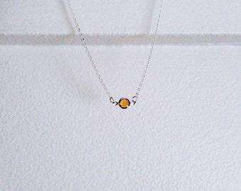 Tangerine Shimma Bezel Necklace
