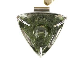 Silver pendant with Moldavite. Natural stone. Raw Moldavite pendant. Natural Moldavite. Moldavite necklace. Moldavite jewels.