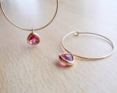 Dark Pink  Gold Hoop Earrings  Crystal Hoop Earrings  Dainty Minimal Hoop Earrings  Simple Jewelry  Bridesmaids Gift  Thin Gold Hoops