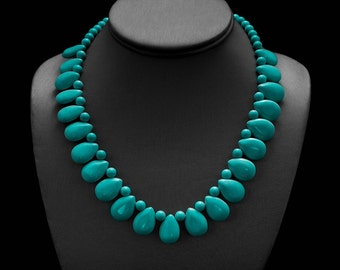 Turquoise Necklace/ Turquoise Drop/ Drop Necklace/ Turquoise Petal/ Turquoise Statement
