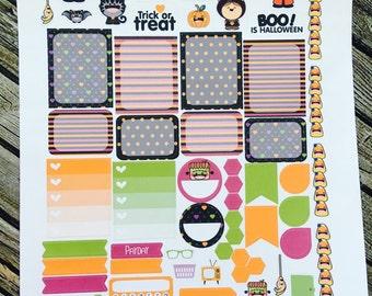 Halloween Cuties Weekly Planner Stickers Set, for use with Erin Condren Life Planner, Happy Planner