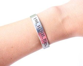 teacher's bracelet, teachers gift, love inspire teach, christmas gift, teacher appreciation, gift for teacher, teacher jewelry, teacher
