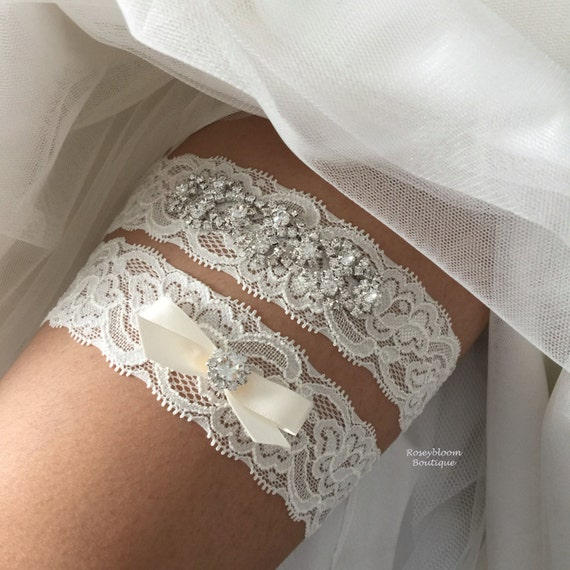 Crystal Wedding Garter: Bridal Garter-Wedding Garter-Rhinestone By RoseybloomBoutique