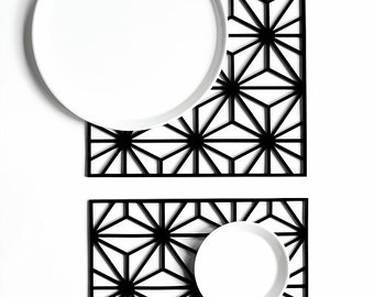 Perspex star geometry placemats wedding gift present laser cut