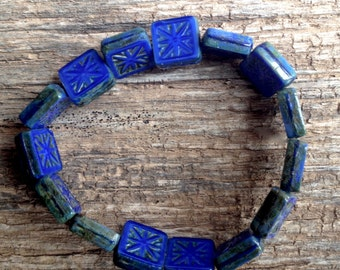 Czech Artisan 11 mm Flat Square with Star Tablecut Royal Blue with Picasso Beads - 15 Beads