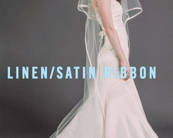 EMMY VEIL | two-tiered chapel length drop veil with linen ribbon edge, wedding veil, bridal illusion tulle