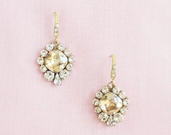 Enchanted Gold Crystal Drop Earrings, Wedding Earrings, Bridal Earrings, Bridal Earrings Gold, Bridal Earrings Swarovski, Crystal Earrings
