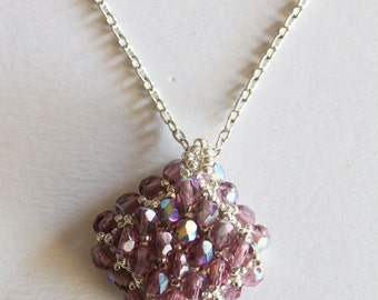 Necklace 3D square with light purple AB polish beads