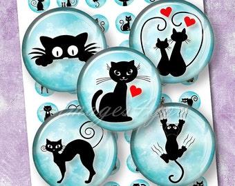 "Cute Black Cat 1"" bottle cap images kitten 1 inch circles Digital Collage Sheet cabochon 25 30mm 1.25"" 1.5"" round printable download pendant"