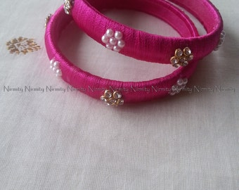 Magenta Handcrafted Silk Thread Work - Pearl and Clear Rhinestone Studded Bangles - Size 2.4-Bangle Bracelet