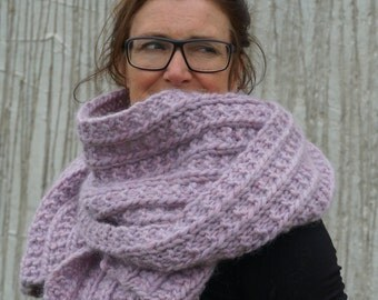 scarf with mohair and silk, chunky scarf, knitted scarf, wool scarf, lilac/violet