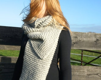 hand knitted chunky scarf/ pure wool scarf/ XL knit scarf/ light grey