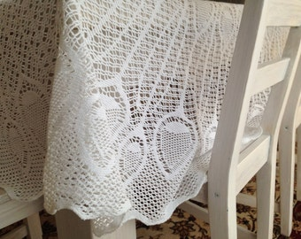 Vintage knitted round table cloth White Lace table cloth Large Circle table cloth Round table cloth White knitted table cloth