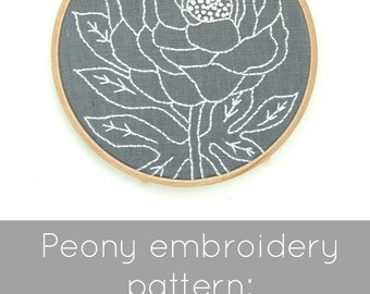 Peony Embroidery Pattern - Digital Download
