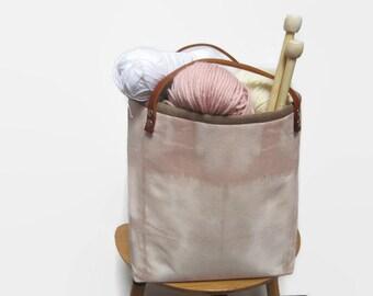 Fabric basket, Fabric bin, Shibori fabric bin, Shibori fabric basket, with genuine leather handles and metal hardware, Sewing and Knitting