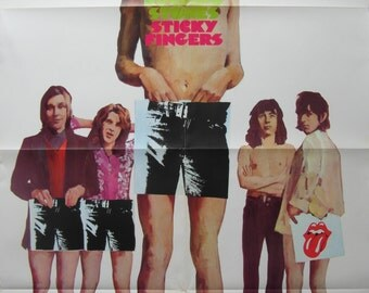 Original 1971 Rolling Stones Promotional Poster for the Album 'Sticky Fingers'