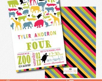 zoo birthday invitation, kids birthday invitation, jungle invitation, safari invitation, colorful kids invitation, elephant printable invite