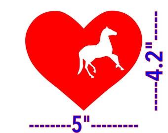 Horse & Heart Love Horses. Horse in Heart Vinyl Decal Horse Car Decal,Window,Laptop etc...