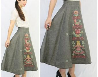 Vintage 1950 50's VLV Rockabilly Embroidered Cross Stitch PRINCESS bird Butterfly Rhinestones Swing Circle Skirt