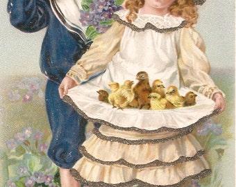 Vintage Easter greeting postcard boy girl chicks sparkly digital download printable instant image