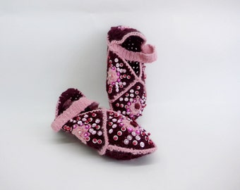 Handmade Slippers, Hand-knit Children's Slippers, Slippers with sequins, Turkish-style slippers, Woolen slippers, cherry and pastel pink