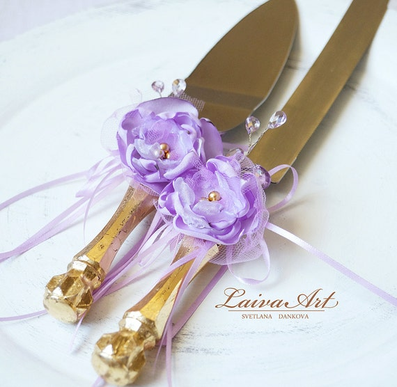 Wedding Cake Server Set Knife Wedding Cake Knife Gold Lavender