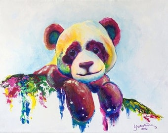 Colorful Panda Modern Acrylic Painting on Canvas