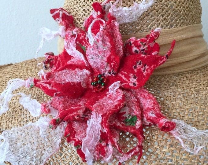 Merino Wool Silk Red White Brooch Evening Wedding Wear Accessories Felted Brooch Luxurious Wool Boho Retro Look Brooch Bridal Shower Gift