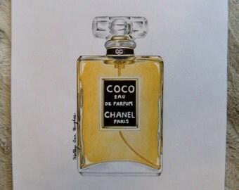 Original Coco Chanel Perfume Illustration