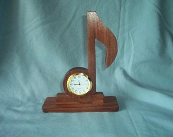 1/8 Note Clock-Musical Clock-Walnut Desk Clock-Music Lovers Gift