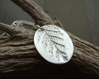 Silver forest foliage necklace / Fall leaf pendant / real plant life jewelry / autumn leaves / one of a kind / artisan handcrafted