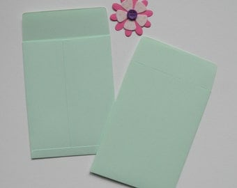 Mint Green Coin envelopes, Gift card envelope, 3 by 4 inch, Paper ephemera, Paper embellishments, Seed envelopes, Money envelopes,