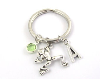 Frog Keychain- choose a birthstone and initial, Frog Keyring, Frog Gift, Frog Charm, Frog Birthstone, Personalized Frog, Silver Frog Gift
