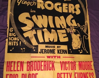 Original 1936 Swing Time Two Sheet Movie Poster RARE Fred Astaire, Ginger Rogers, Dance