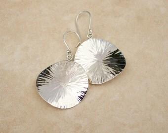 Full Moon Argentium Silver Hammered Earrings, Hammered Silver Earrings, Artisan Silver Earrings