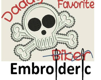 Renegade Daddy's favorite Biker adventure Applique Design Instant DIGITAL DOWNLOAD 5x7 6x10 8x14