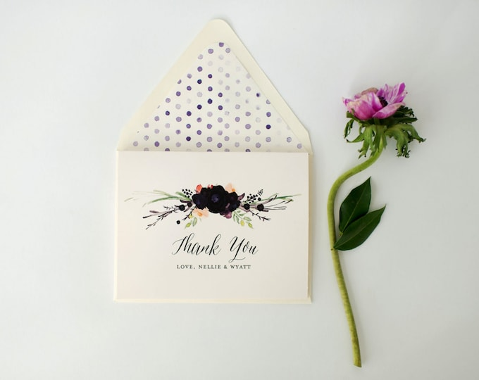nellie personalized thank you cards +  lined envelopes (sets of 10) // wedding thank you cards // lola louie paperie