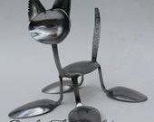 Kitten Love spoon cat silverware sculpture welded metal art