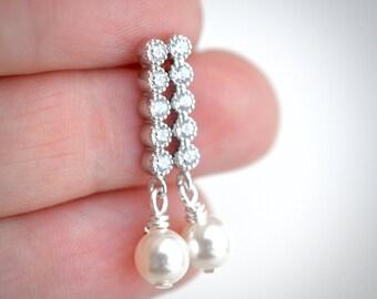 Pearl drop earrings, Swarovski pearl bridal jewelry, cubic zirconia dangle earrings, classic pearl bridal earrings, pearl earrings, for her