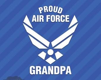 Proud Air Force Grandpa Vinyl Decal Sticker