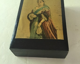 Vintage Queen Victoria Black Hinged Decoupaged Wood Box